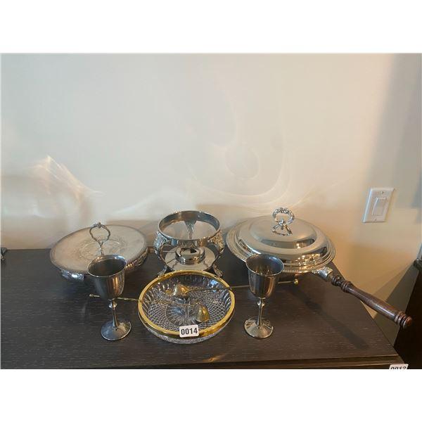 E.P. Brass Serving set with fondu base