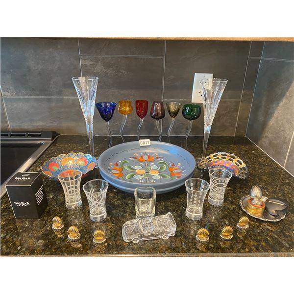 Mini Bar Set. Various Shot Glasses, Flutes and Bowls