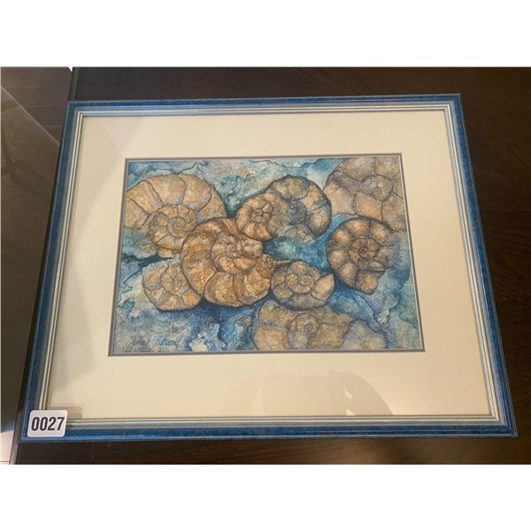 """""""The Chambered Nautilus"""" Framed WaterColour on Gesso by Janie Lockwood 20""""W x 16""""H"""