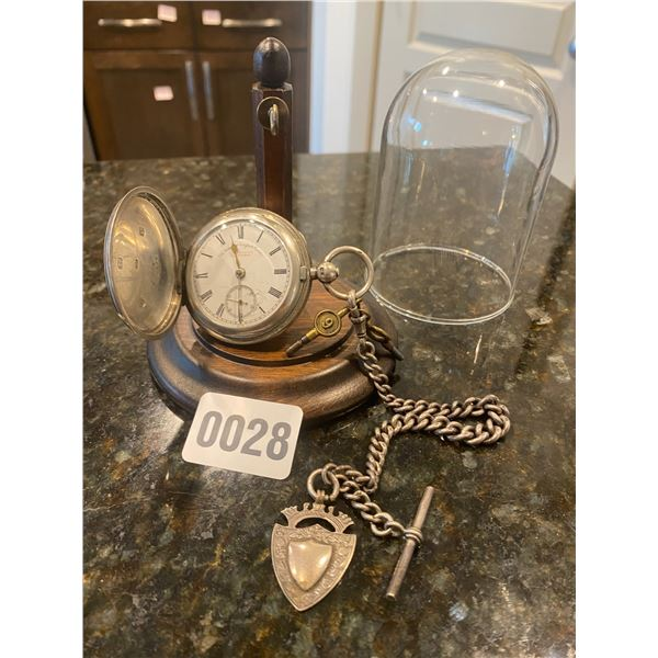 """The """"Pioneer"""" English Lever Pocket Watch with display case"""
