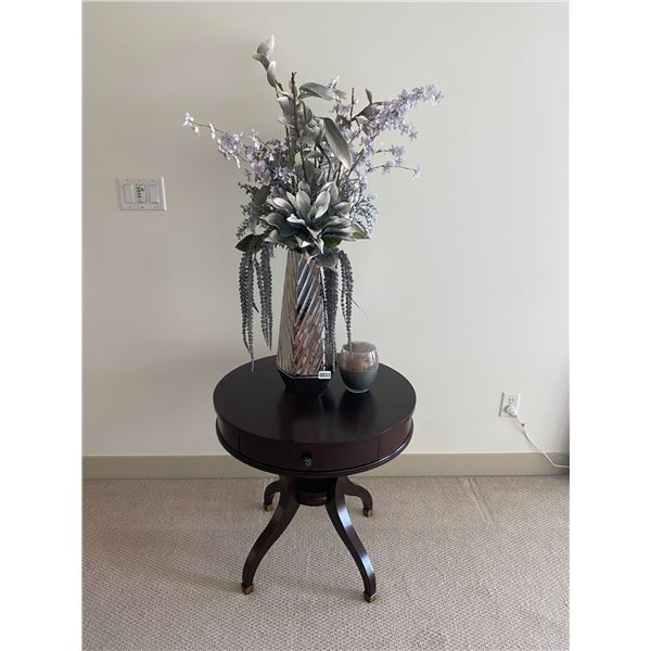 """Round Side Table with Artificial Flowers and Candle 26"""" Diameter x 26""""H"""