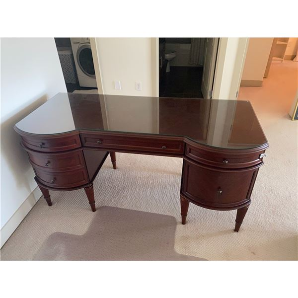 """Cherrywood Desk with Glass Top 62""""L x 27""""D x 31""""H"""