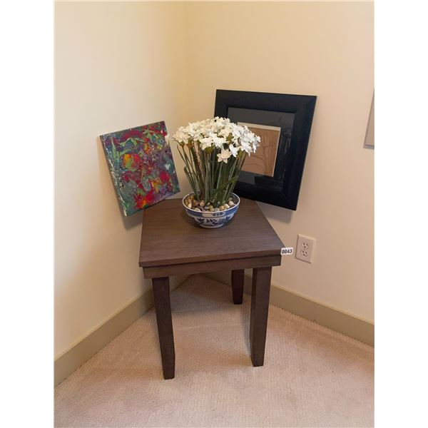 """Small Table 18""""W x 18""""D x 22""""H with Black Frame - Artificial Flowers - Canvas Painting"""
