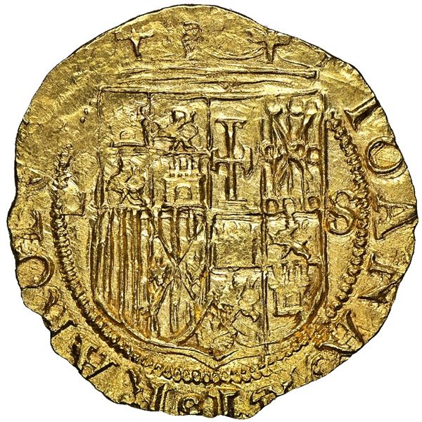 Seville, Spain, 1 escudo, Charles-Joanna, assayer Gothic D to left, mintmark S to right, NGC MS 63.