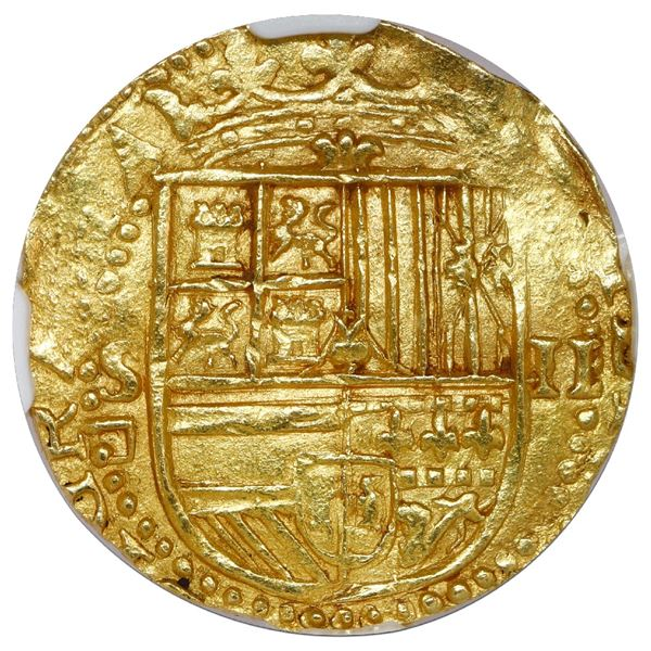 Seville, Spain, cob 2 escudos, Philip II, assayer Gothic D below mintmark S to left, NGC MS 64.