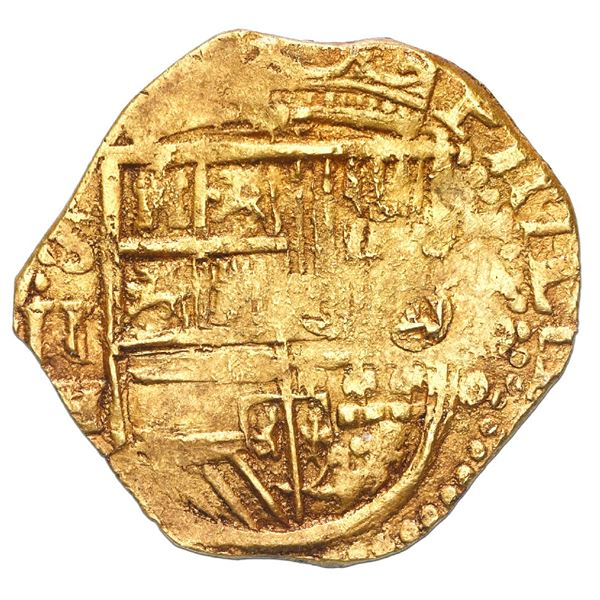 Seville, Spain, cob 2 escudos, 1590 date to right, assayer H below denomination II and mintmark S to
