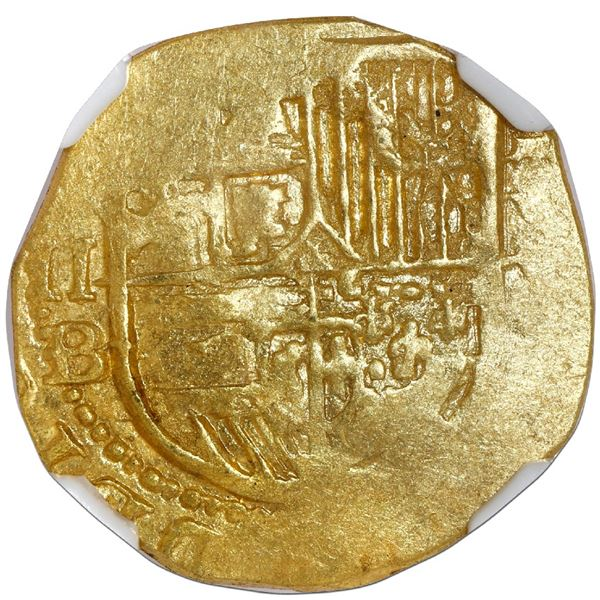 Seville, Spain, cob 2 escudos, Philip II, assayer B below denomination II and mintmark S to left, da