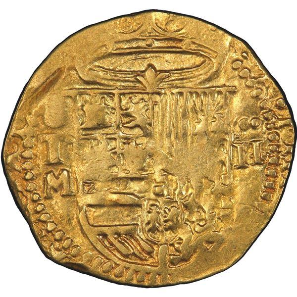 Toledo, Spain, cob 2 escudos, Philip II, assayer M below mintmark oT to left, PCGS AU50