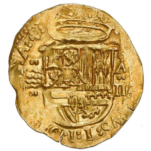 Valladolid, Spain, cob 2 escudos, Philip II, assayer oA above denomination II to right, mintmark to