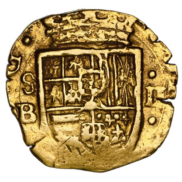 Seville, Spain, cob 2 escudos, Philip III, assayer B, upright denomination II to right with dots abo