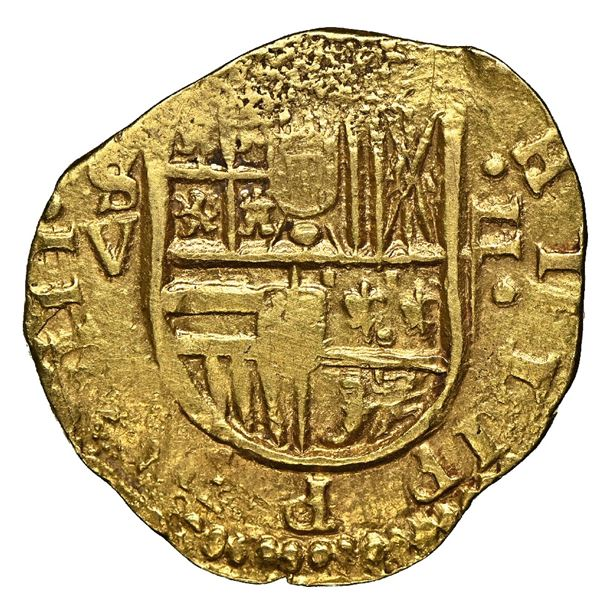 Seville, Spain, cob 2 escudos, 1615 V, NGC MS 63, finest known in NGC census.