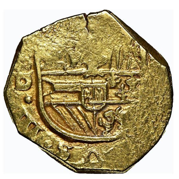 Seville, Spain, cob 2 escudos, Philip IV, assayer D, NGC AU 55.