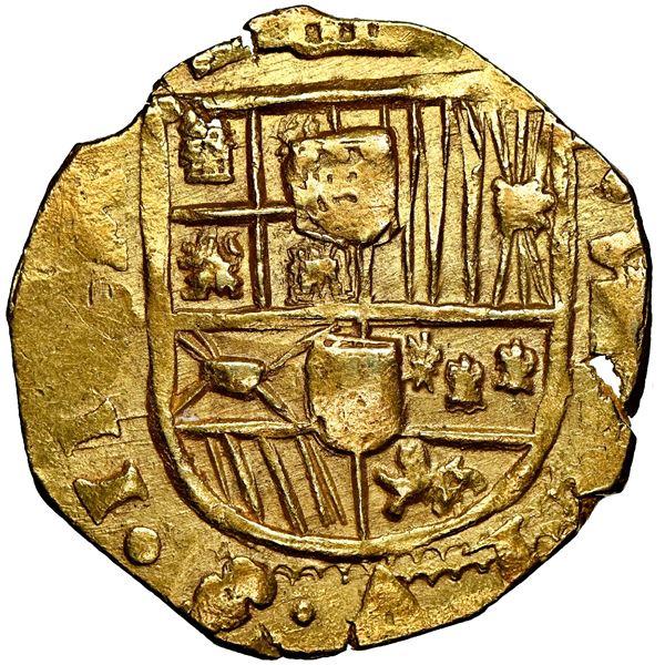 Seville, Spain, cob 8 escudos, 1698/7 M, NGC AU 58, Calico and Tauler Plate.
