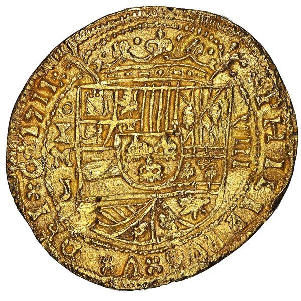 Mexico City, Mexico, cob 8 escudos Royal (galano), 1711 J, NGC UNC details / damaged, ex-1715 Fleet,