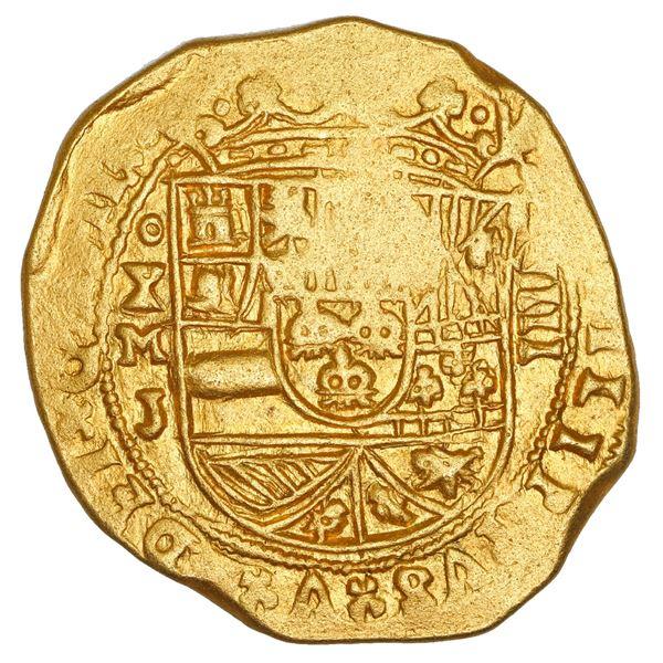 Mexico City, Mexico, cob 8 escudos, 1711 J, ornate-tressure cross, NGC UNC details / saltwater damag