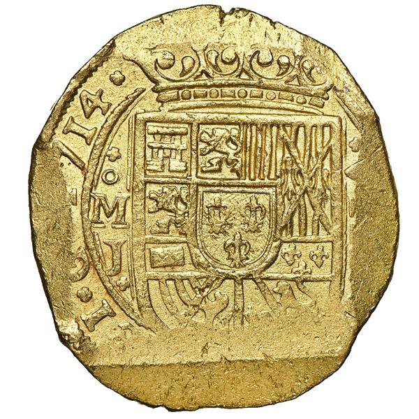 Mexico City, Mexico, cob 8 escudos, 1714 J, Royal-die obverse, extremely rare, NGC MS 62, ex-1715 Fl