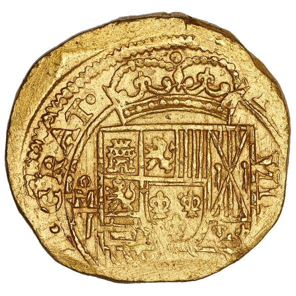 """Mexico City, Mexico, cob 8 escudos, 1714 J, """"GRAT"""" variety with date above cross on reverse, NGC MS"""