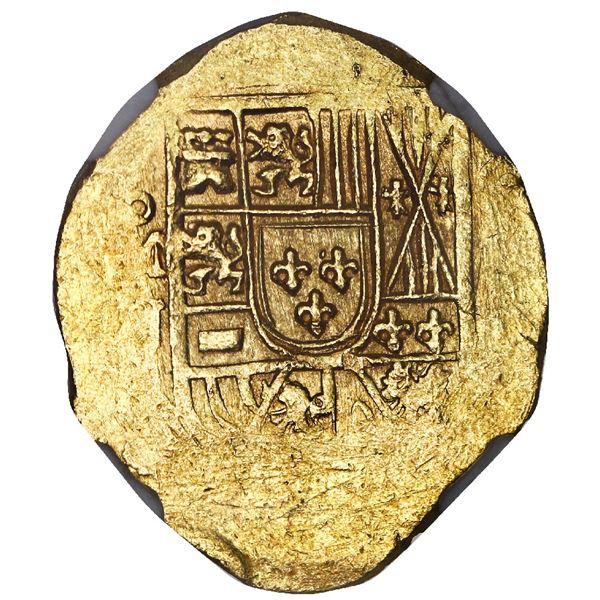 Mexico City, Mexico, cob 2 escudos, (1714) J, NGC MS 64, ex-1715 Fleet 300th Anniversary Find.