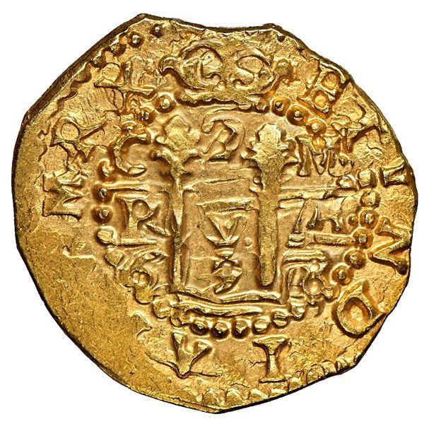 "Cuzco, Peru, cob 2 escudos, 1698 M, error-variety with RX in legend, NGC MS 64 (""top pop""), ex-1715"