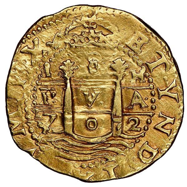 Lima, Peru, cob 8 escudos, 1702 H, rare, NGC AU 58.