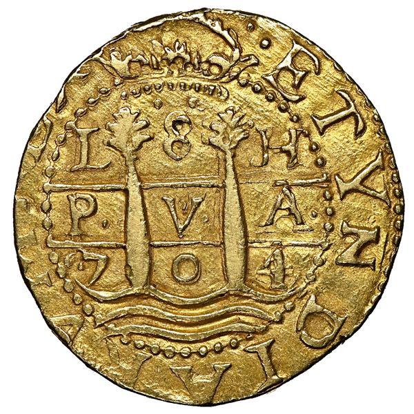 Lima, Peru, cob 8 escudos, 1704 H, ISPANIAR variety, rare, NGC AU 58, ex-1715 Fleet.