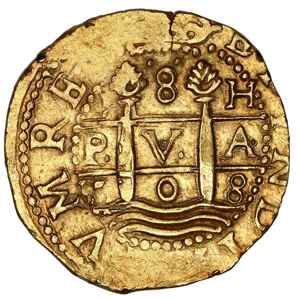 Lima, Peru, cob 8 escudos, 1708 H, HISPAN variety, NGC MS 63, ex-1715 Fleet.
