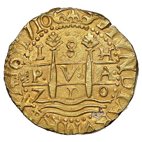 Lima, Peru, cob 8 escudos, 1710 H, four-digit date, HISPANIAR variety, ex-1715 Fleet, NGC UNC detail