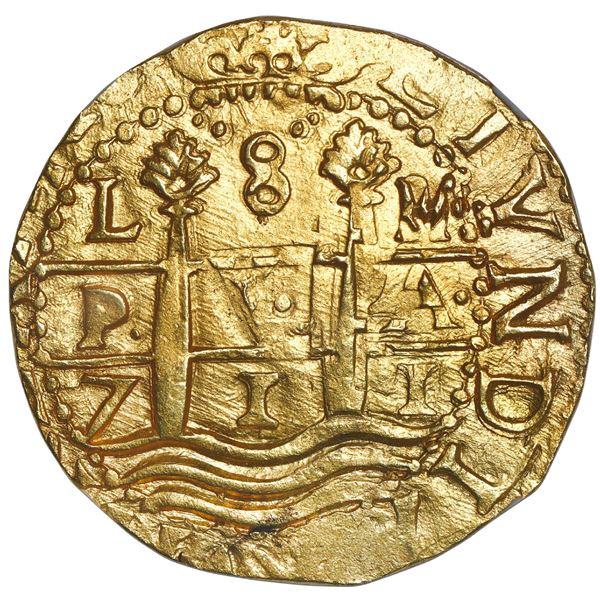 Lima, Peru, cob 8 escudos, 1711 M, NGC MS 62, ex-1715 Fleet.