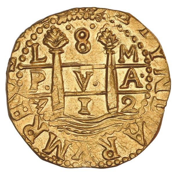 Lima, Peru, cob 8 escudos, 1712 M, NGC MS 64, ex-1715 Fleet.
