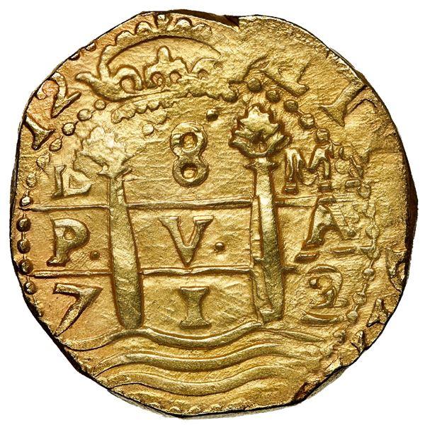 Lima, Peru, cob 8 escudos, 1712 M, NGC MS 64, rotated cross-side legend, ex-1715 Fleet.
