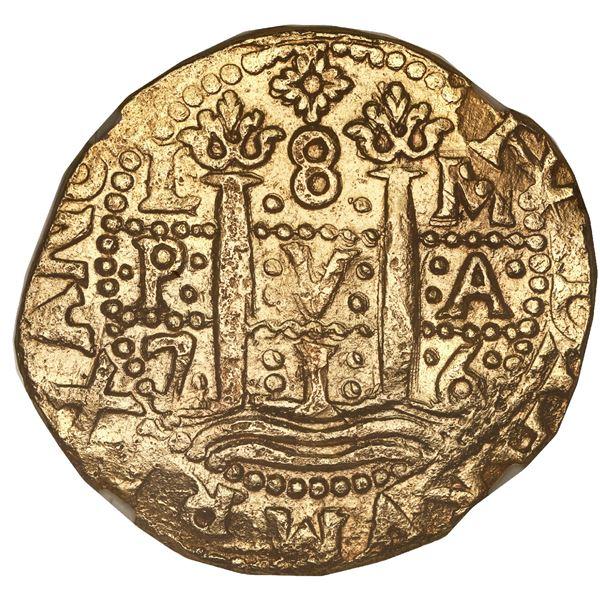 Lima, Peru, cob 8 escudos, 1716 M, NGC MS 61, finest known in NGC census, ex-Loosdrecht (1719), ex-G