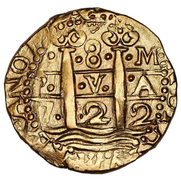 Lima, Peru, cob 8 escudos, 1722 M, NGC AU 58.