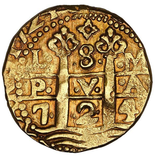 Lima, Peru, cob 8 escudos, 1724 M, HISPANIAR variety, rare, NGC AU 58, finest known in NGC census, T