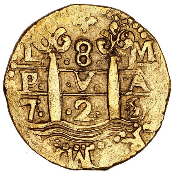 Lima, Peru, cob 8 escudos, 1725 M, Louis I, king's name visible (rare), NGC AU 55.