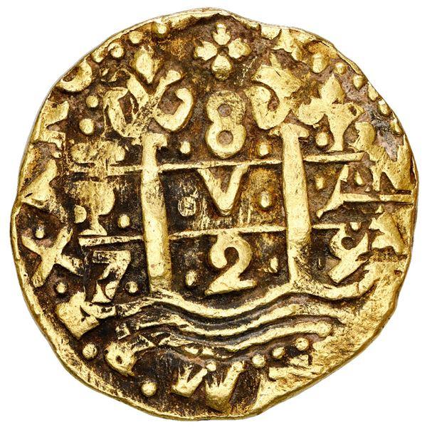 Lima, Peru, cob 8 escudos, 1729 N, NGC AU 50.