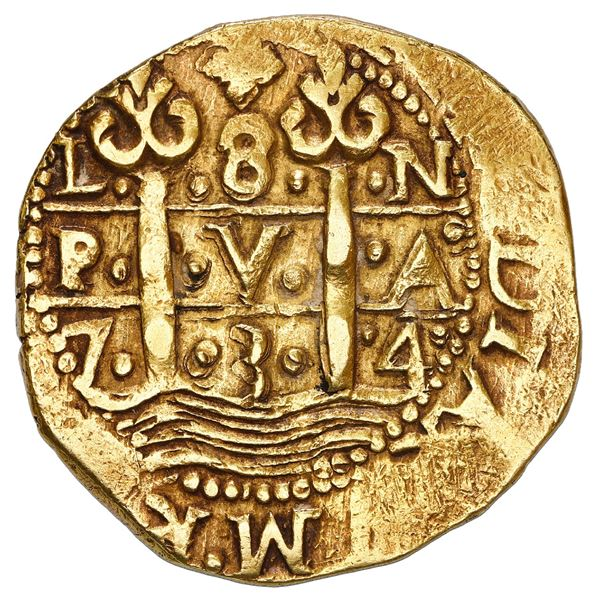 Lima, Peru, cob 8 escudos, 1734 N, NGC AU 55.