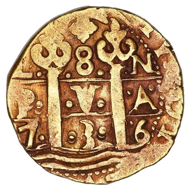 Lima, Peru, cob 8 escudos, 1736 N, NGC AU 53.