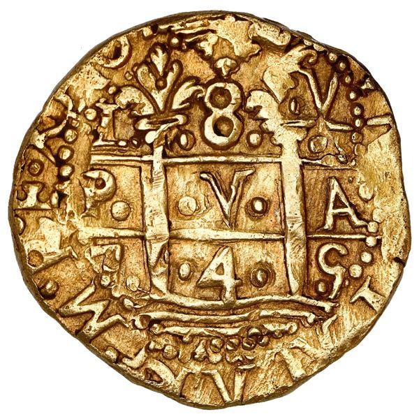 Lima, Peru, cob 8 escudos, 1745 V, NGC AU 58.