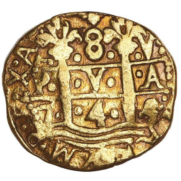 Lima, Peru, cob 8 escudos, 1745 V, NGC XF details / mount removed.
