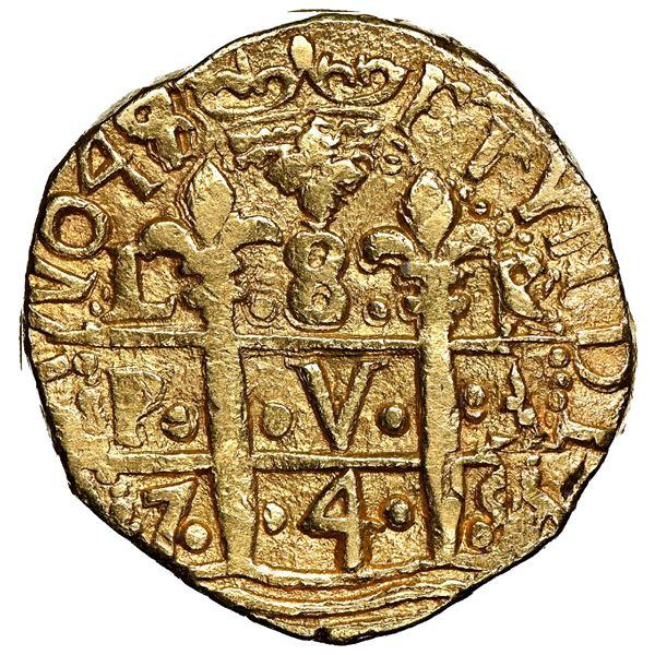 Lima, Peru, cob 8 escudos, 1749/8 R, rare, NGC AU 58.