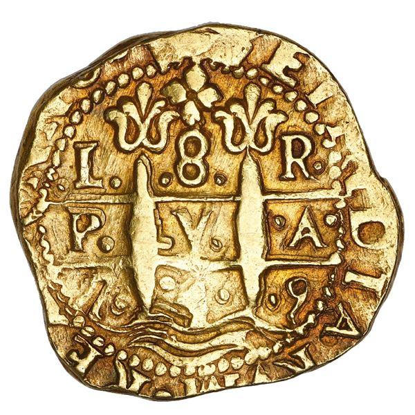 Lima, Peru, cob 8 escudos, 1750 R, muled with 1749 pillars side, NGC AU 58.