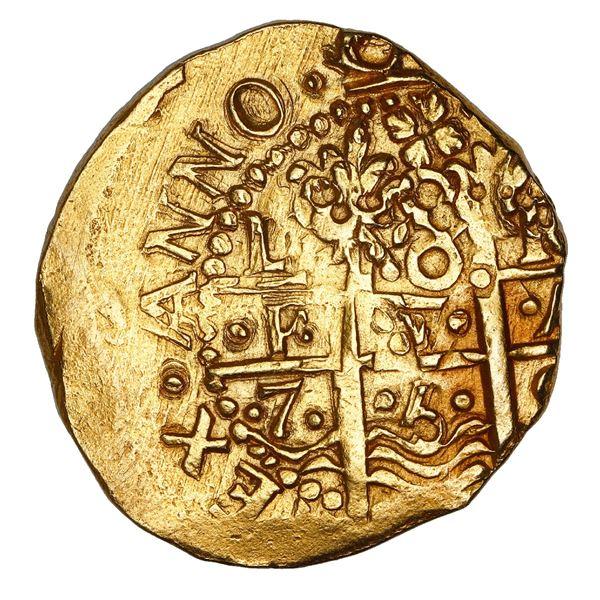 Lima, Peru, cob 8 escudos, 1750 R, NGC MS 63, ex-Luz (1752).