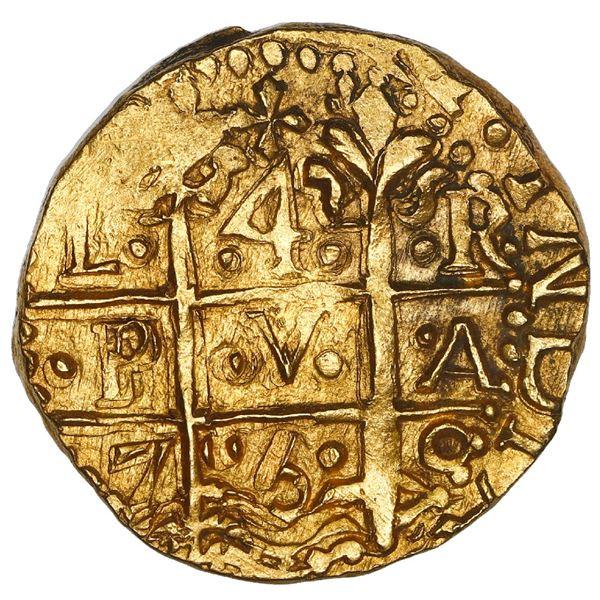 Lima, Peru, cob 4 escudos, 1750 R, cross side struck from 8E die (rare), NGC MS 63, ex-Luz (1752).