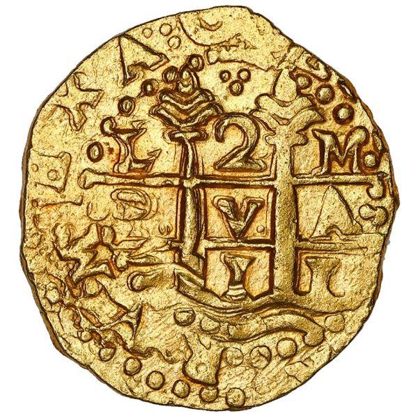 Lima, Peru, cob 2 escudos, 1711 M, NGC MS 63, ex-1715 Fleet.