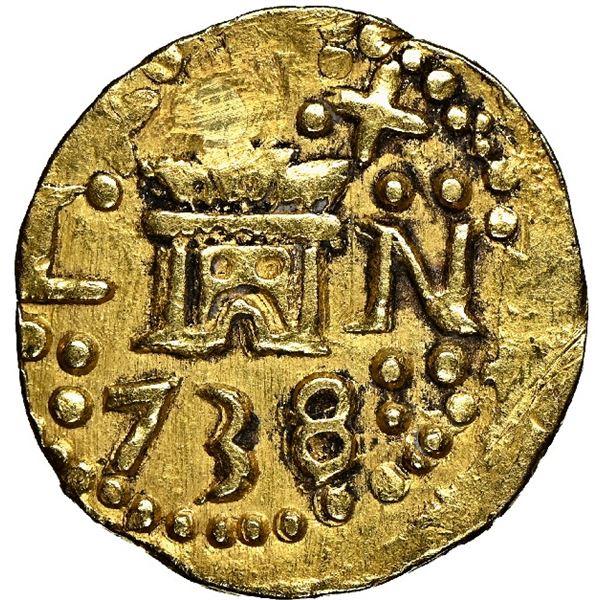 Lima, Peru, cob 1 escudo, 1738/7/6 N, rare, NGC XF details / plugged.