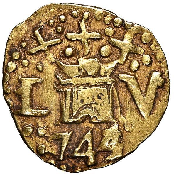 Lima, Peru, cob 1 escudo, 1744/3/2 V, very rare, NGC XF 45.
