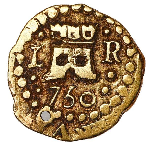 Lima, Peru, cob 1 escudo, 1750 R, very rare.