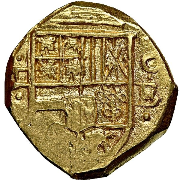 Cartagena, Colombia, cob 2 escudos, Philip IV, assayer E below mintmark C to right, NGC MS 62.