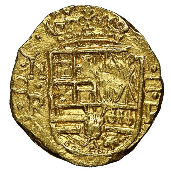 Bogota, Colombia, cob 2 escudos, 1659, assayer R to right, rare, NGC MS 65, finest known in NGC cens