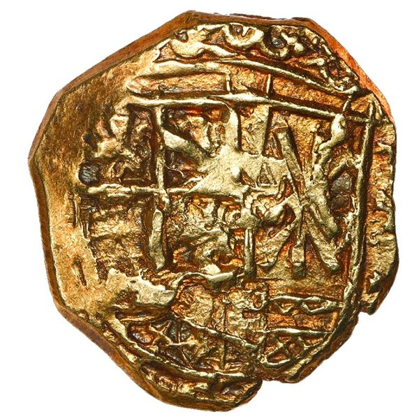 Bogota, Colombia, cob 2 escudos, 1702 in upside-down digits preceded by assayer V.A., king's name as